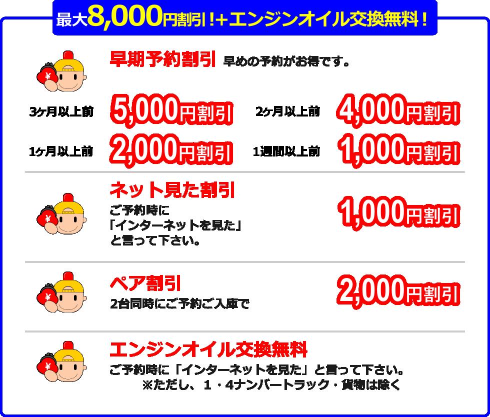最大8,000円割引+エンジンオイル交換無料!